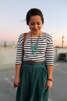 casual fall #outfit: striped tee + midi skirt