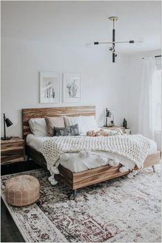 69 Best Bohemian Bedroom Ideas For Your First Apartment 31 - fancyhomedecors #bohemianbedroom#bedroom#bedroomideas Simple Bedroom Decor, Home Decor Bedroom, Modern Bedroom, Contemporary Bedroom, Minimalist Bedroom Boho, Neutral Bedrooms, Trendy Bedroom, Neutral Bedding, Bedroom Plants