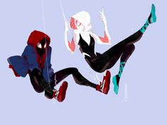 Spiderman and Spidergwen by SilentVoize on DeviantArt, Spiderman And Gwen, Spiderman Spider, Black Spiderman, Marvel Art, Marvel Dc Comics, Marvel Avengers, Character Art, Character Design, Movies And Series