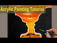 Easy Acrylic Painting for Beginners | BLACK COUPLE | Silhouette Painting | Sip and Paint