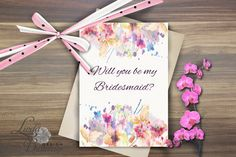 Floral Wedding by Linda Buttercup on Etsy Be My Bridesmaid Cards, Will You Be My Bridesmaid, Bridesmaids, Tropical, Summer Wreath, Sell On Etsy, Floral Wedding, Wedding Cards, Bridal