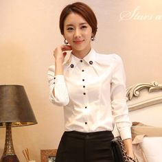 2015 New Work wear women shirt white cotton long-sleeve tops Collar flower Beading design female plus size formal blouse tooling