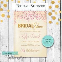 Champagne Bridal Shower Invitation (PRINTED FILE) by DesignbyKristinLynn on Etsy #bridalshower #bridalbrunch #champagnebrunch #bridalshowerinvitation