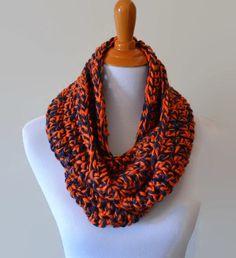 Blue and Orange Crochet Infinity Scarf, Team Colors Scarf, School Spirit, Denver Broncos, Chicaco Bears, Syracuse Orange, NFL Scarf by CrochetAwayJayne on Etsy https://www.etsy.com/listing/249546509/blue-and-orange-crochet-infinity-scarf