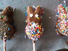 Chocolate dipped Peeps on a stick, perfect for kids! You WILL eat at least 5, sorry! So delish! #Easter #kids #recipes #food #chocolate