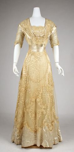 Object Name  Dress (Ball Gown)  Date  ca. 1908  Culture  American  Medium  cotton, linen, silk  Dimensions  Length (from shoulder): 60 1/2 in. (153.7 cm)