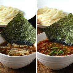 濃厚魚介風スープと、ピリ辛スープ。つるもち麺にたっぷり絡めてどうぞ♪ おうちで本格つけ麺レシピ