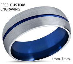 Tungsten Ring Mens Blue Silver Wedding Band Tungsten Ring Tungsten Carbide 8mm…