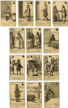 Complete pack of 52 playing-cards depicting the Rye House Plot; engraved illustration with inscribed description in lower margin; suit mark and value variously at upper right or left; backs plain. Engraving  The individual cards are inscribed as follows:  Spades. I. Hone taken Prisoner at Cambridge. II. Hone and Rouse sent Prisoners to Newgate III. The fire at New-Markett. IIII. Walcot taken in Southwarke V. Walcot sending a Letter to S.r L.L. VI. Rumsey sent by Shaftsbury to the Consult at…