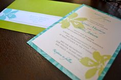 Turquoise and green tropical wedding invitations