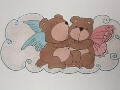 """Angel-Bears: wall decoration (inspired by Bouguereau """"Amore e Psiche"""")"""