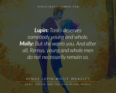 Lupin and Tonks >> well, f*ck it, it was arthur who saud it and he was pointing at their attacked son, öaying between him and his also adorable wife Molly Weasley