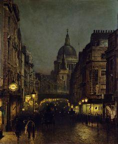 St Paul's from Ludgate Circus, 1885, John Atkinson Grimshaw  La-clef-des-cœurs