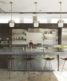 Grove House: Polished Concrete Floors from Heather Bullard. This is the idea of the backsplash that I want over the cook top.