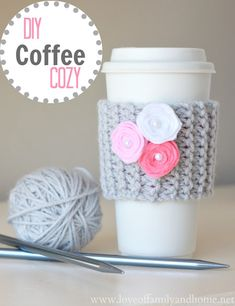 DIY Coffee Cup Cozy with Video Tutorial (Valentine's Day Teacher Gift) - Love of Family & Home.knitted but I am going to try to crochet this. Crochet Coffee Cozy, Coffee Cup Cozy, Crochet Cozy, Crochet Gifts, Crochet Yarn, Easy Coffee, Crotchet, Coffee Cozy Pattern, Tea Cozy