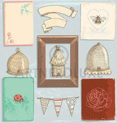 Pretty Vintage Bees and Beehives Illustration by ArtnerDluxe