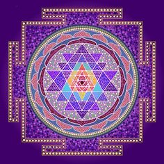Shop Purple Sri Yantra Square Sticker created by SacredMandalaDesigns. Sri Yantra, Tantra, Lakshmi Images, Ancient Symbols, Flower Of Life, Dot Painting, Mandala Art, Sacred Geometry, Art Boards