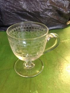 Etched Glass Custard Cup in Pottery, Porcelain & Glass, Glass, Date-Lined Glass | eBay