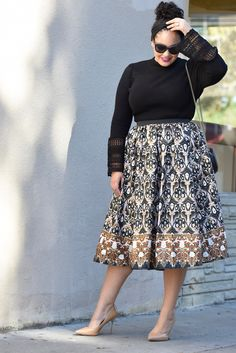 Printed Midi Skirt + Bell Sleeve Sweater