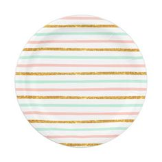 Graduation Party Decoration ideas. Modern Girly Pink Teal Gold Glitter Stripe Pattern 7 Inch Paper Plate