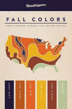 This map shows the best time of year to see colorful foliage across the US. | originally pinned by Rebecca Gallop // A Daily Something | www.aaa.com/travel
