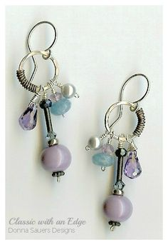 Lavender Skies Earrings | Handmade glass beads and semi precious gems | Donna Sauers Designs