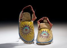 Sioux Beaded and Quilled Hide Moccasins - most of the moccasin is quilled with dyed porcupine quills