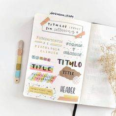 Lettering & header ideas using paper and mixed media by darkmoon.study on instag… - SCHOOL NOTES Bullet Journal Headers, Bullet Journal Notes, Bullet Journal School, Bullet Journal Aesthetic, Bullet Journal Ideas Pages, Bullet Journal Inspiration, Cute Notes, Pretty Notes, Stabilo Boss