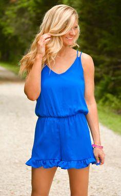 All across town romper in blue! https://belleboutiquenwa.com/chiffon-ruffle-trim-romper-10424.html #rufflefomper #romper #summerapparel #xoxoBelle