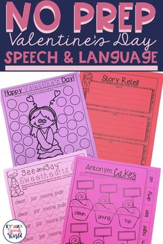 No prep speech and language activities for Valentine's Day! These will save the busy SLP time and engage students during speech therapy sessions! Articulation Therapy, Articulation Activities, Speech Therapy Activities, Language Activities, Group Activities, Speech Language Pathology, Speech And Language, Receptive Language, Valentines Day Activities