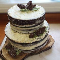 Homemade woodland birthday cake - naked layer cake with fondant pinecones and ivy 12th Birthday, Birthday Parties, Birthday Cake, Fondant Cakes, Pine Cones, Yummy Cakes, Ivy, Woodland, Naked