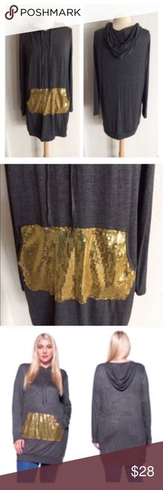 """Sequin hoodie Gray/ gold sequin hoodie. 95% rayon/ 5% spandex. Very TTS (I'm a 2x/16/18 and the 2x was perfect). Long enough to be a hoodie dress depending on your height! Semi lightweight- perfect for layering under or over clothing.  2x: L 35"""" B 46""""  3x: L 36"""" B 48""""  ⭐️This item is brand new without tags 💲Price is firm unless bundled ✅Bundle offers Availability: 2x• 1 Jackets & Coats"""