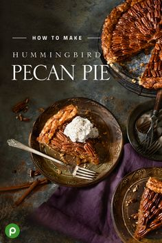"Rumor has it the hummingbird recipes get their name from people humming ""Mmmmmm, mmmmmm,"" after just one bite. Give the Hummingbird Pecan Pie with Banana Whipped Cream a try to find out if it's true. #pecanpie"