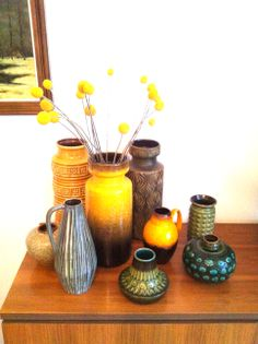West German Pottery collection with billy buttons