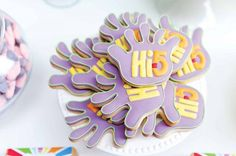 girls rainbow birthday hi 5 cookies