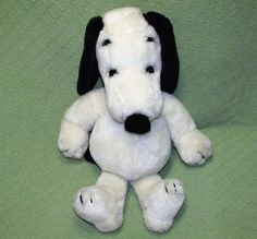"""Vintage 19"""" SNOOPY 1968 Peanuts Plush United Features Made In JAPAN Black Collar #UnitedFeatures"""