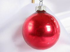 Vintage Red Shiny Brite Christmas Ornament by bythewayside on Etsy, $2.00