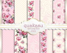 Delicate Pink Shabby Digital Paper Decoupage Paper by quakasu