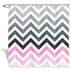 Grey And Pink Chevron Shower Curtain Pinkchevronshowercurtainglam Bathroom Decor Curtains Striped