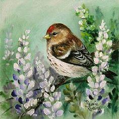 Art: Redpoll Garden web by Artist Paulie Rollins