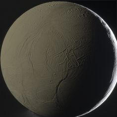 "Enceladus. The crescent is the result of the Sun shining on the moon. The softer illumination is from sunlight reflected off Saturn, like Earthshine on our Moon. [Image credit: Gordan Ugarković, Cassini spacecraft] ©Mona Evans, ""10 Amazing Facts about Saturn's Moons"" http://www.bellaonline.com/articles/art28136.asp"