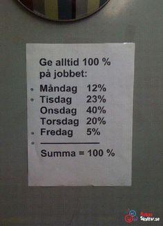 Naturligtvis är det viktigt att alltid ge 100% på jobbet. Men då kan du dela ... Yoga Quotes, Words Quotes, Sayings, Funny Signs, Funny Memes, Jokes, Learn Swedish, Swedish Language, Proverbs Quotes
