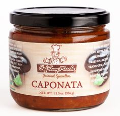 Caponata is a Sicilian aubergine dish consisting of a cooked vegetable salad made from chopped fried eggplant and celery seasoned with sweetened vinegar, with capers in a sweet and sour sauce.  Chef Tony's Caponata is a classic sweet and sour eggplant dish which is rich and naturally sweetened with carmelized onions, tomatoes, and raisins.  It makes a great vegeterian dish!  You can also dress up a crostini, transform a turkey sandwich or give roasted salmon a gourmet touch.