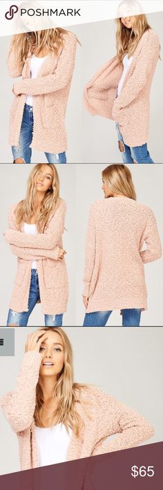 """Coming Soon  Blush Popcorn Cozy Open Cardigan Beautiful open cardigan with pockets.   Model is 5' 9"""" 32B-24-34 & wearing a size Small   Price is firm unless bundled. No trading.   Available for pre-order $65 Sweaters Cardigans"""