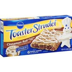 Toaster Strudel are okay I could not really taste the cinnamon flavoring in these. They never cooked properly for me either. I cooked them in a toaster- one tim. Free Printable Grocery Coupons, Toaster Strudel, Cinnabon, Weird Food, Pillsbury, Breakfast For Kids, Cinnamon Rolls, Pop Tarts, Snacks