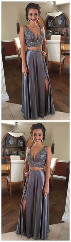 Sexy Two Piece Prom Dress,Beaded Silver Graduation Dress,Two Piece Slit Prom Party Dress H01391 #Graduationdresses