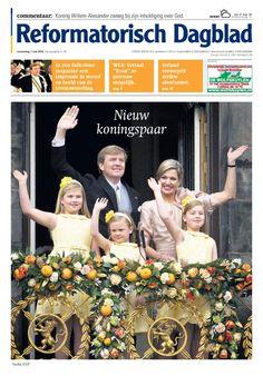 De voorpagina van woensdag 1 mei 2013, de dag na de inhuldiging van koning Willem-Alexander.