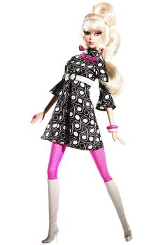 POP LIFE Barbie (2009) looks super groovy in a mod-inspired geometric print black and white dress, hot pink fishnet stockings, and white go-go boots. Platinum blond hair is pulled into a high ponytail. Nostalgic Twist 'N Turn face sculpting and Pivotal body sculpt adds to the doll's allure. A mod chair accompanies the doll.