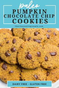 Paleo Pumpkin Chocolate Chip Cookies are a delicious gluten Fall Desserts, Low Carb Desserts, Healthy Dessert Recipes, Pumpkin Chocolate Chip Cookies, Dairy Free Recipes, Paleo Recipes, Healthy Pumpkin, Gluten Free Cookies, Kitchen Recipes