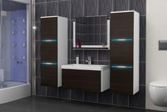 Luna Bathroom Furniture Set with Bathroom Basin and LED Bathroom Storage Units, Bathroom Drawers, Bathroom Basin, Bathroom Sets, Storage Cabinets, Modern Bathroom, Wooden Bathroom Accessories, Fitted Bathroom Furniture, Wooden Bathroom Cabinets